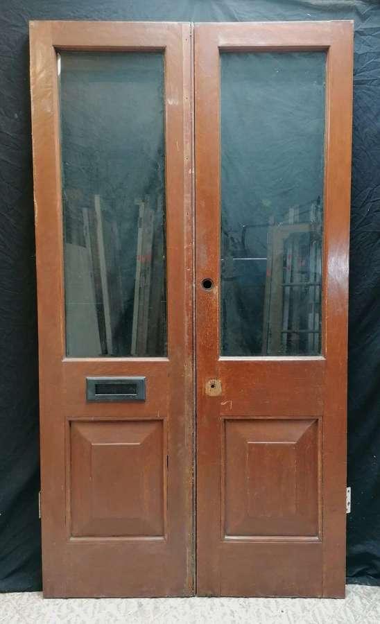 DP0308 PAIR OF RECLAIMED TEAK INTERNAL FRENCH DOORS FOR GLAZING