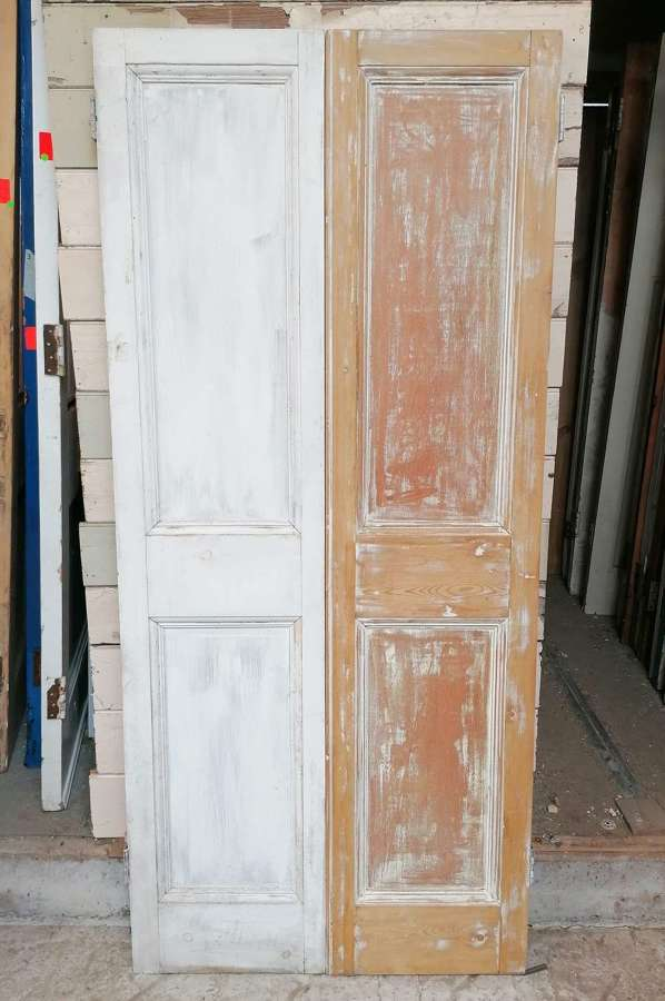 CS0038 A PAIR OF EDWARDIAN CUPBOARD DOORS WITH PLY PANELS