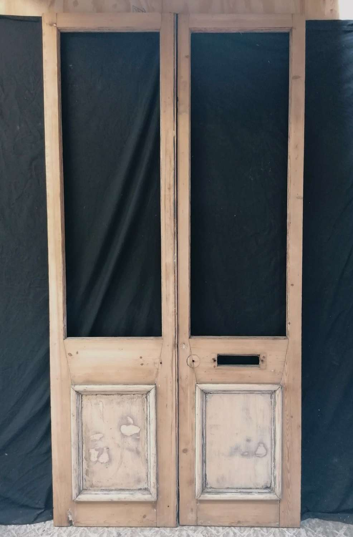 DP0310 PAIR OF RECLAIMED STRIPPED PINE VICTORIAN INTERNAL DOORS