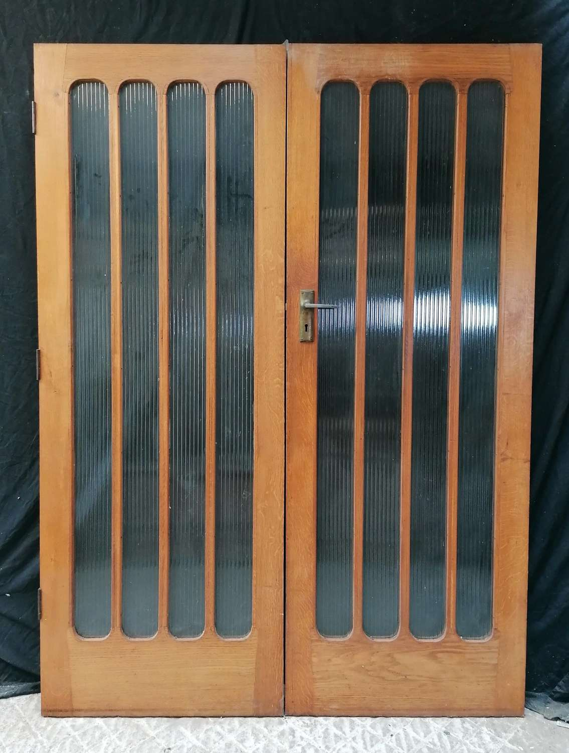 DP0311 TWO RECLAIMED ART DECO GLAZED OAK DOORS CAN BE USED AS A PAIR