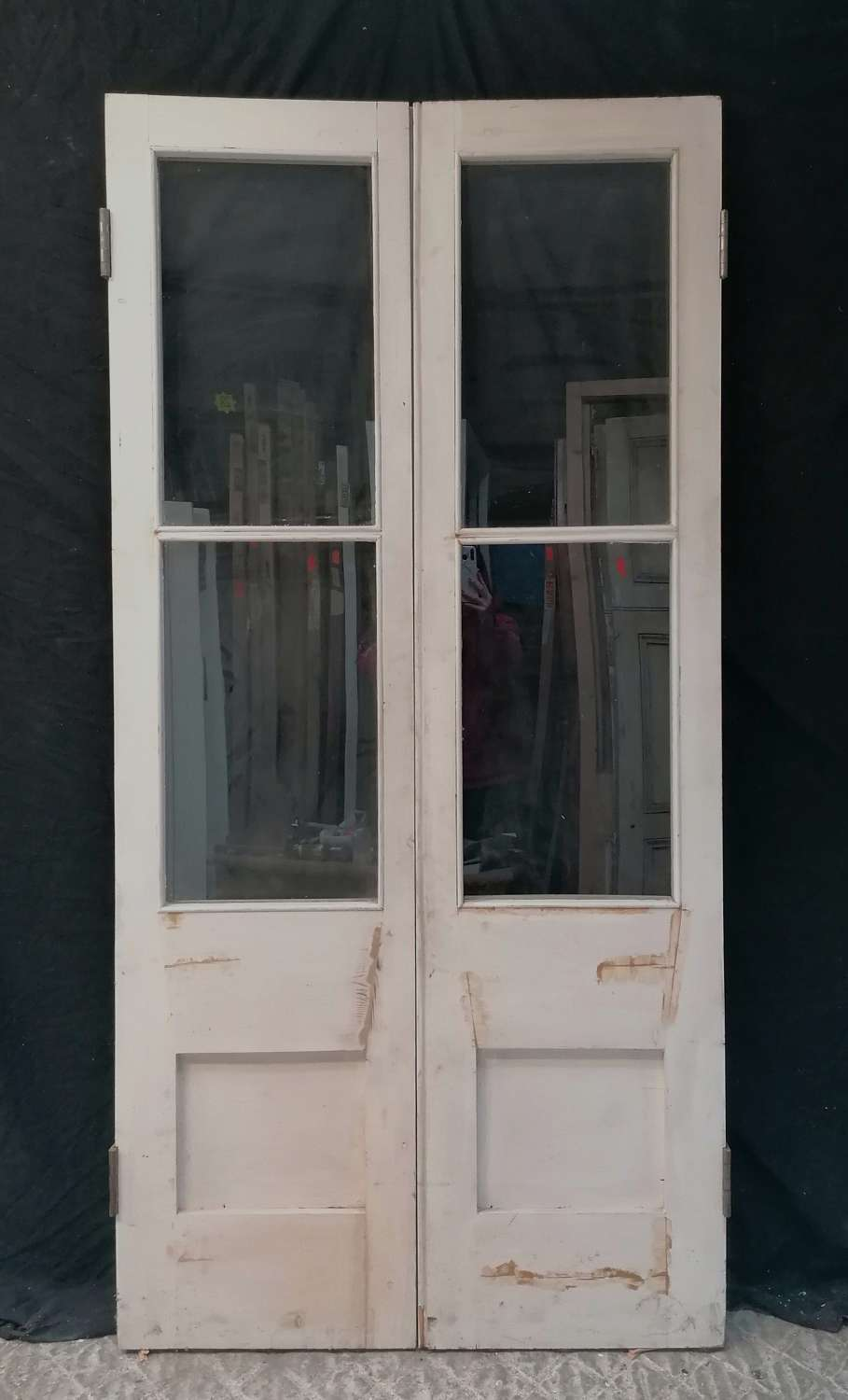 DP0312 PAIR OF RELAIMED PAINTED PINE INTERNAL FRENCH DOORS