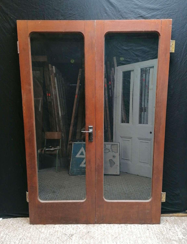 DP0315 A PAIR OF RECLAIMED OAK ART DECO GLAZED DOORS