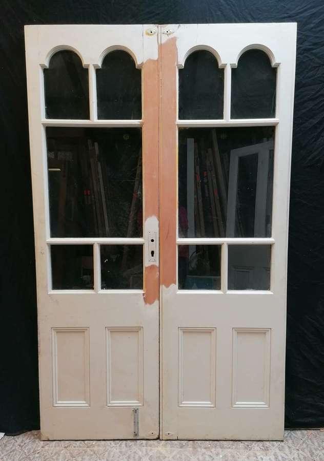 DP0316 A PAIR OF RECLAIMED EDWARDIAN INTERNAL / EXTERNAL FRENCH DOORS