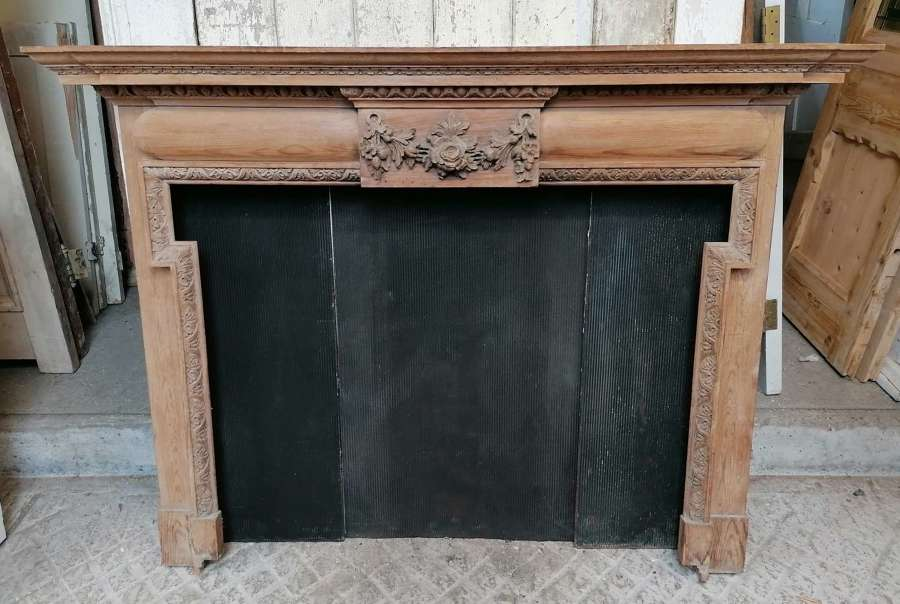 FS0147 A PRETTY RECLAIMED VICTORIAN HAND CARVED PINE FIRE SURROUND