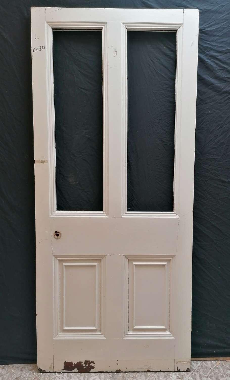 DB0695 A LARGE RECLAIMED PAINTED INTERNAL / EXTERNAL MAHOGANY DOOR