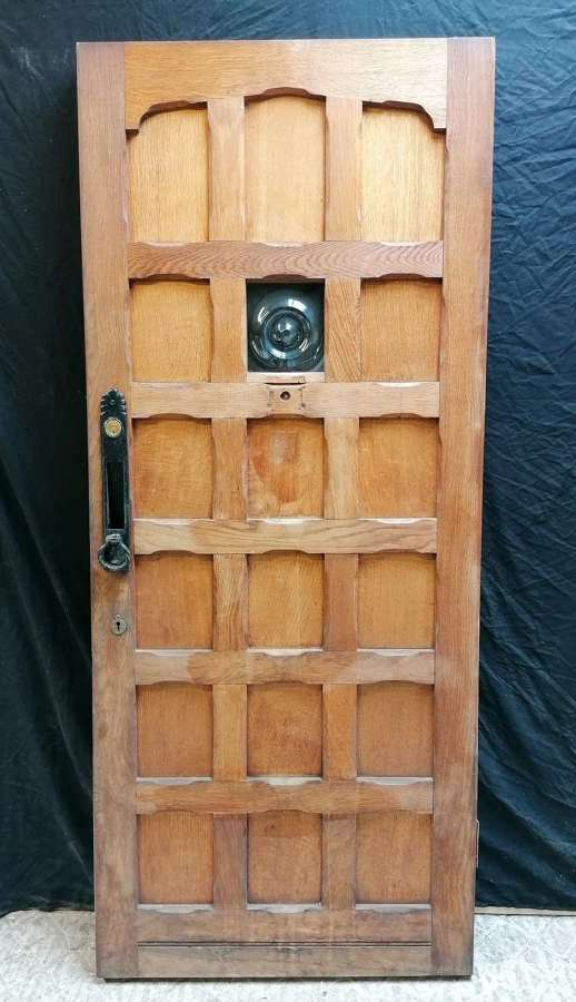 DE0891 A RECLAIMED ARTS AND CRAFTS OAK FRONT DOOR WITH GLASS