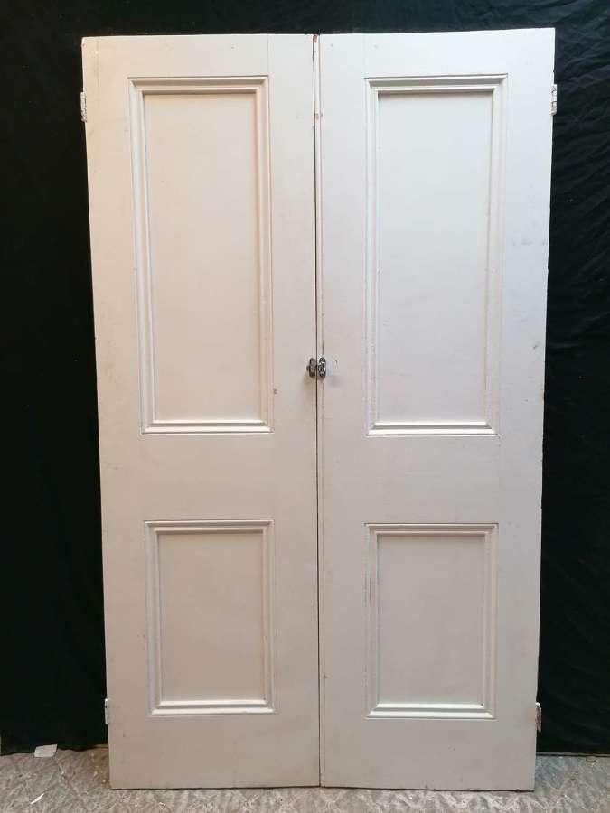 DP0317 A PAIR OF VICTORIAN PAINTED PINE INTERNAL DOORS / CUPBOARD