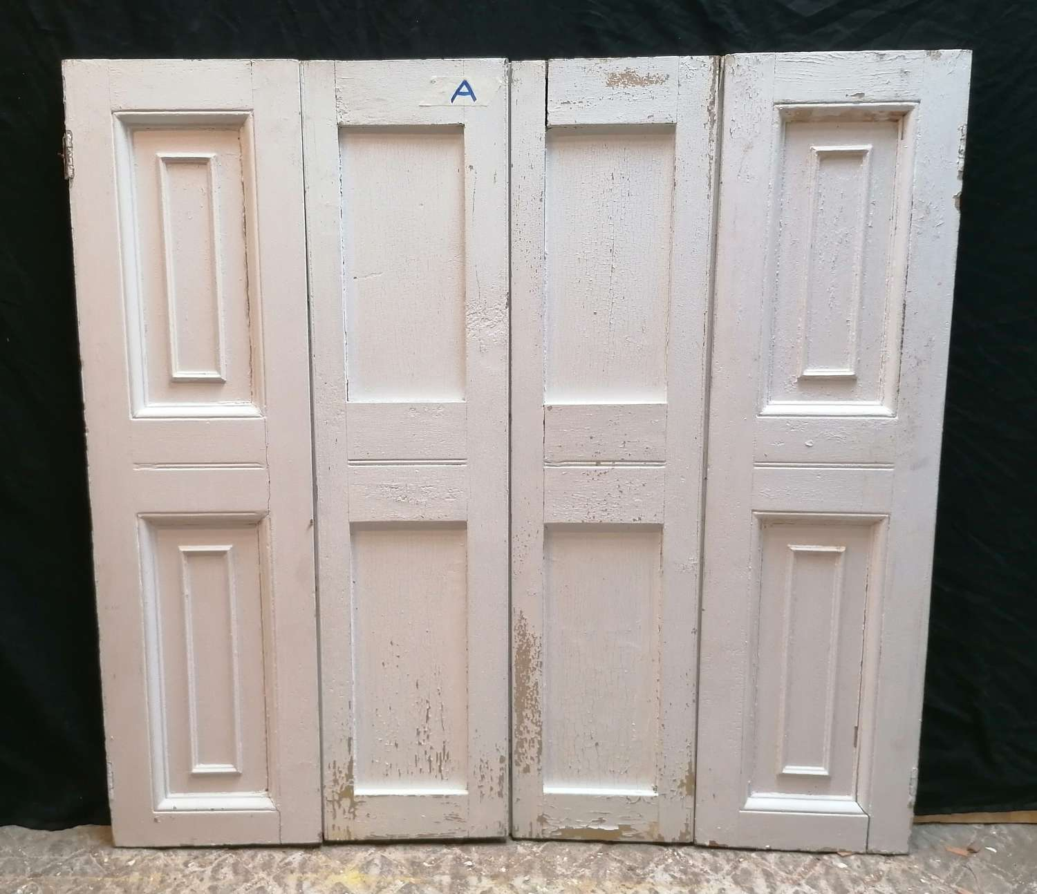 CS0043 RECLAIMED PAINTED PINE SET OF 4 SHUTTERS - 3 SETS- SOLD SEP