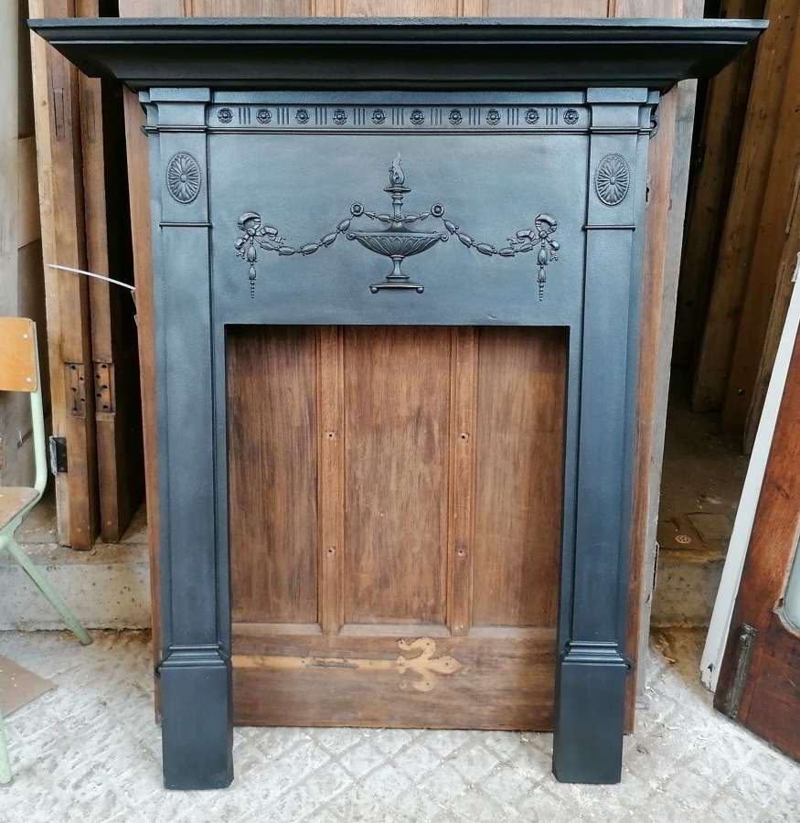 FS0149 RECLAIMED EDWARDIAN CAST IRON FIRE SURROUND FOR WOOD BURNER