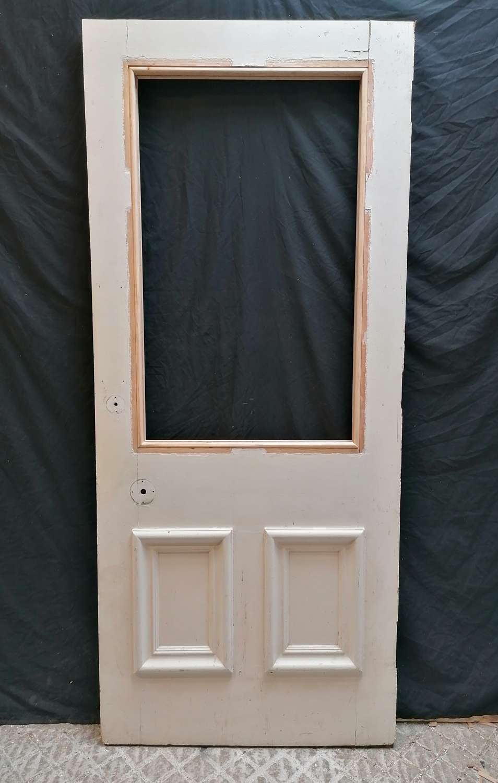 DI0743 A RECLAIMED GEORGIAN STYLE PAINTED PINE INTERNAL DOOR