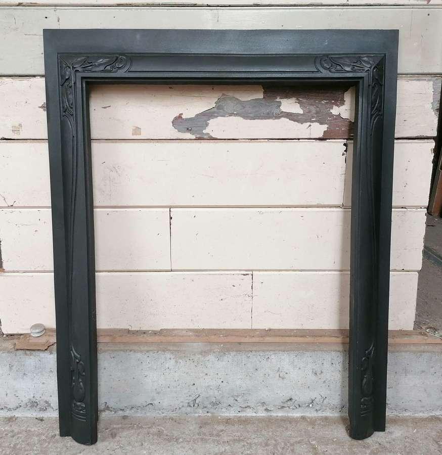 FT0020 RECLAIMED ART NOUVEAU CAST IRON FIRE TRIM / WOOD BURNER TRIM