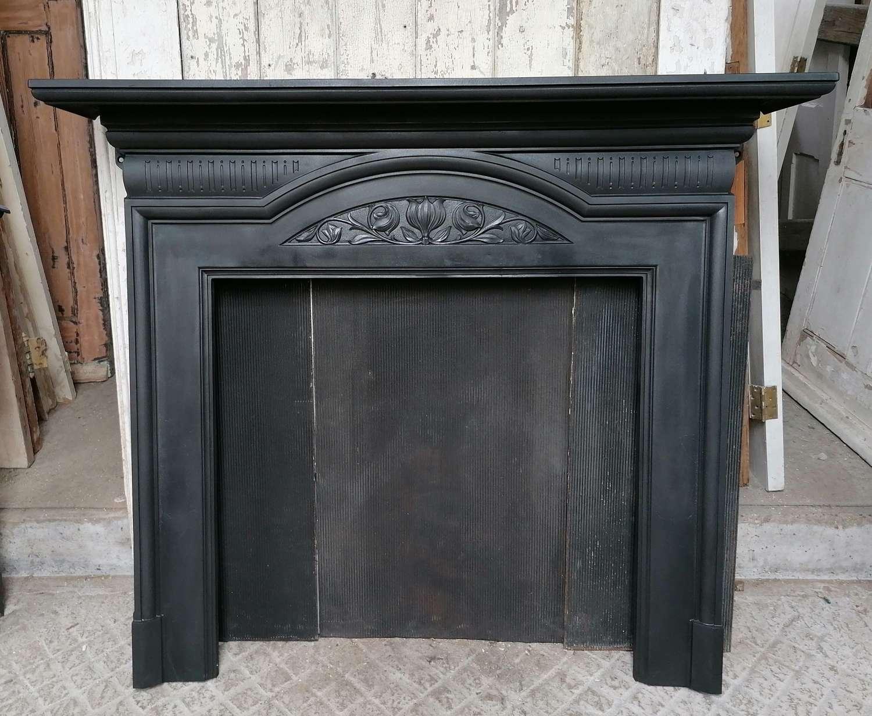 FS0150 LARGE EDWARDIAN CAST IRON FIRE SURROUND FOR WOOD BURNER