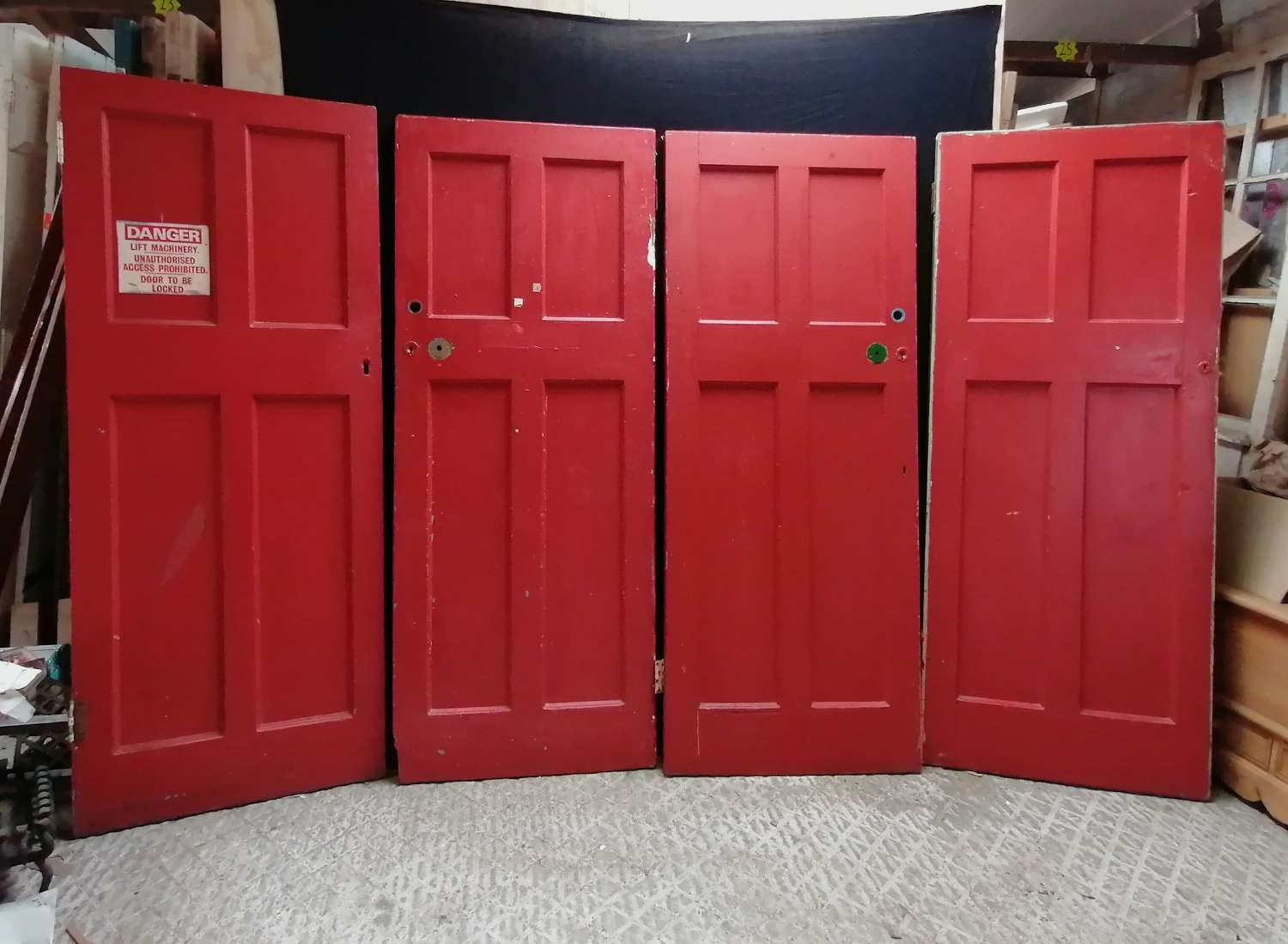 DI0744 SET OF 4 PAINTED PINE INTERNAL RECLAIMED FIRE ENGINE RED DOORS