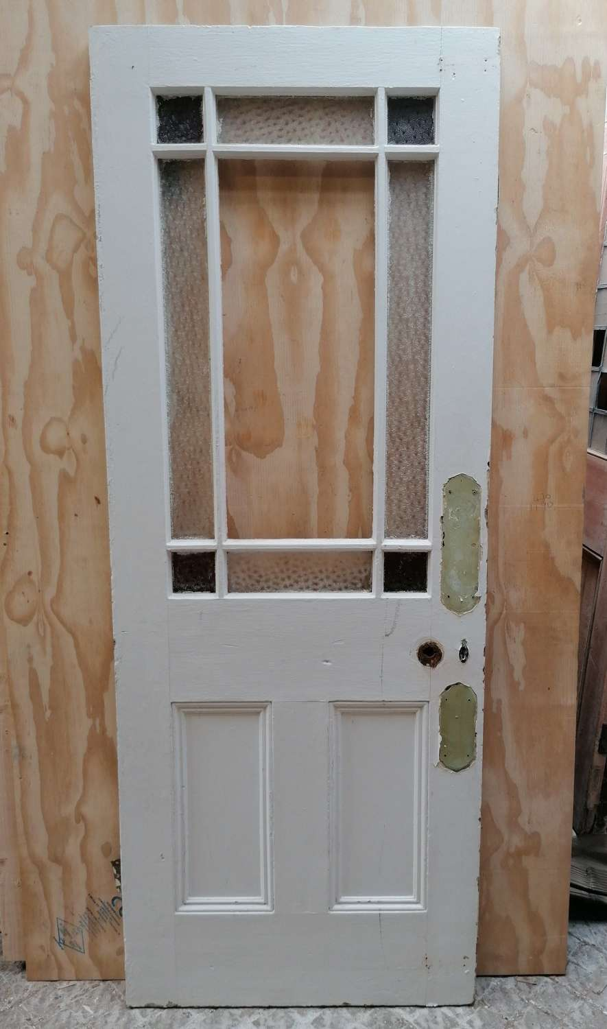 DI0747 A SMALL RECLAIMED ANTIQUE PINE CARDIFF INTERNAL DOOR