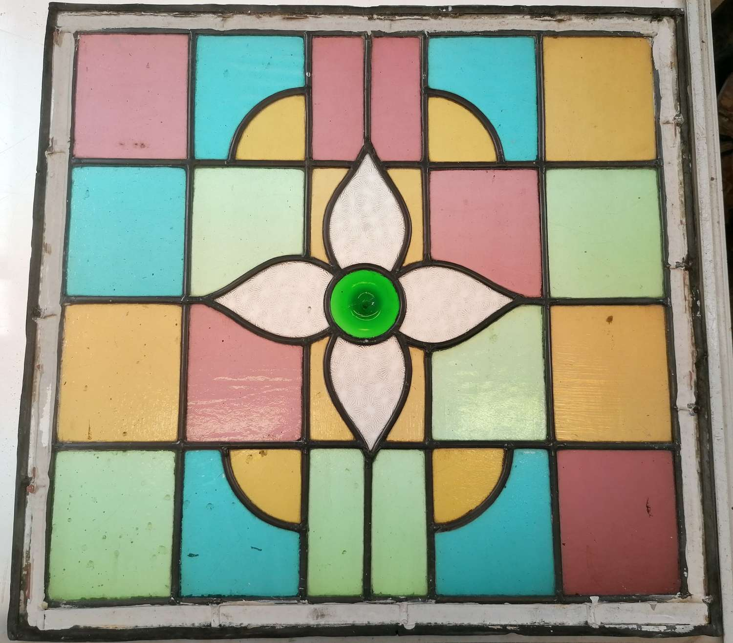 M1523 A PAIR OF RECLAIMED STAINED GLASS PANELS