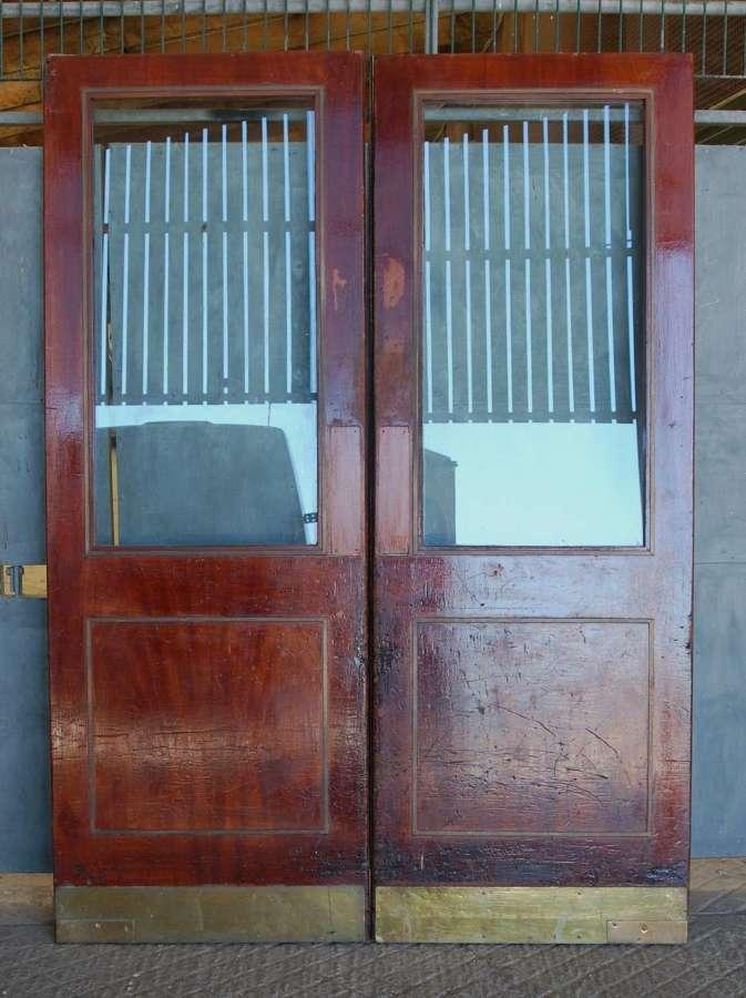 DP0319 A PAIR OF RELCIAMED MAHOGANY INTERNAL / EXTERNAL GLAZED DOORS