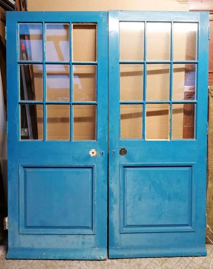 DP0320 A PAIR OF RELAIMED PAINTED PINE EXTERNAL GLAZED DOORS