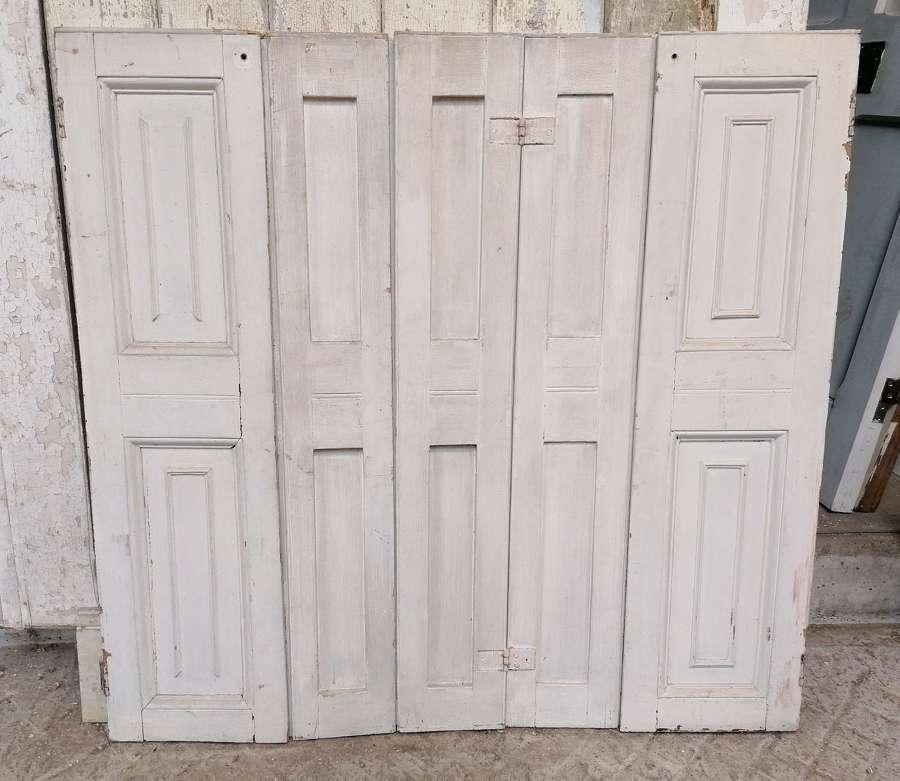CS0058 PAIR OF RECLAIMED VICTORIAN PAINTED PINE WINDOW SHUTTERS