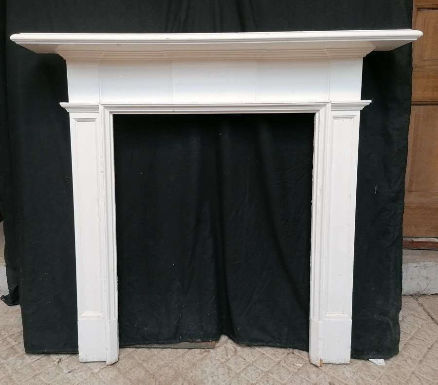 FS0153 AN ANTIQUE RECLAIMED PAINTED PINE VICTORIAN FIRE SURROUND