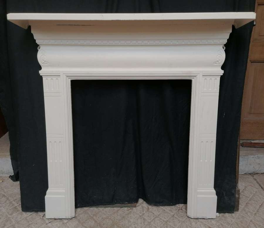 FS0154 A LARGE ANTIQUE RECLAIMED PAINTED CAST IRON FIRE SURROUND