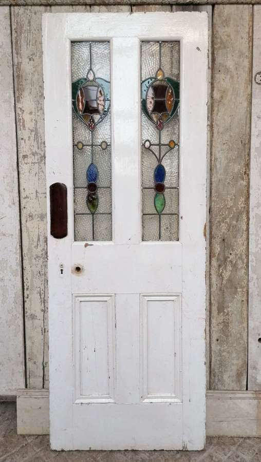 DI0749 RECLAIMED VICTORIAN PAINTED PINE STAINED GLASS INTERNAL DOOR