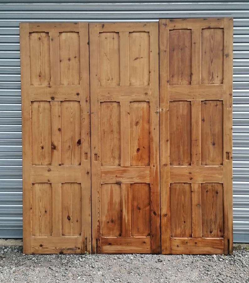 CS0056 A SET OF 3 RECLAIMED VICTORIAN GOTHIC PINE PARTITION DOORS