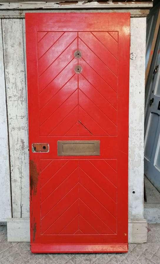 DE0898 A RECLAIMED CHEVRON DESIGN HARDWOOD EXTERNAL DOOR