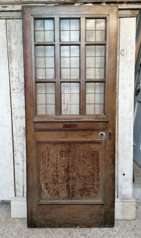 DB0700 AN EDWARDIAN RECLAIMED OAK INTERNAL / EXTERNAL GLAZED DOOR