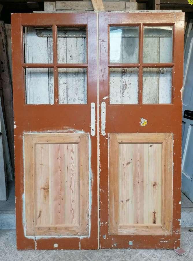DP0328 PAIR OF RECLAIMED PAINTED PINE INTERNAL / EXTERNAL GLAZED DOORS