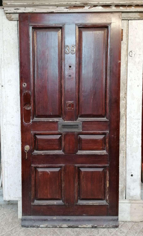 DE0899 A RECLAIMED ANTIQUE 6 PANEL PINE FRONT DOOR C.1925