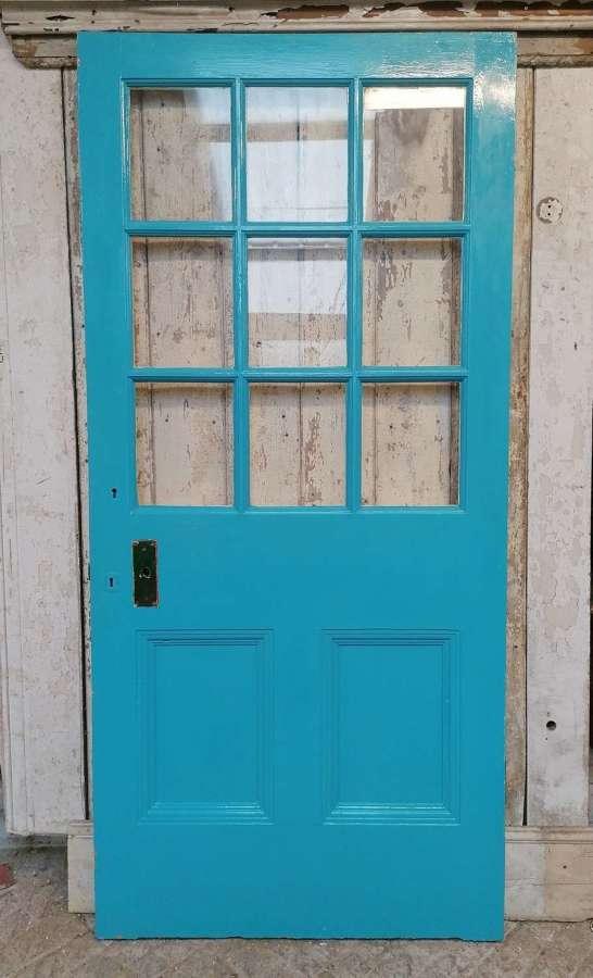 DB0701 A RECLAIMED PAINTED PINE INTERNAL / EXTERNAL GLAZED DOOR