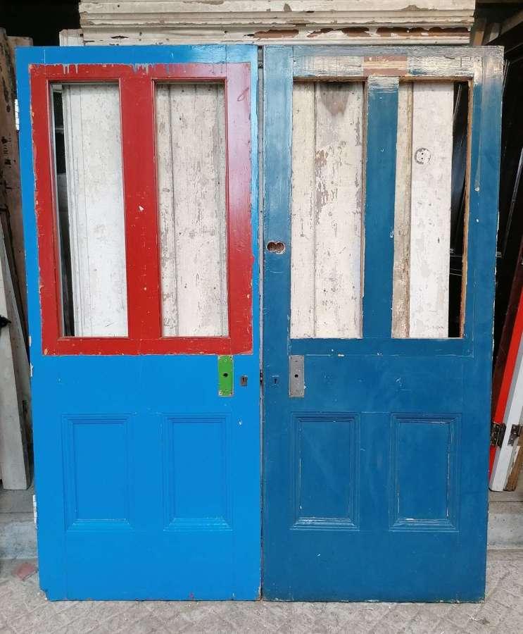 DP0332 2 RECLAIMED PAINTED PINE INTERNAL DOORS FOR PAIR NEEDS GLAZING