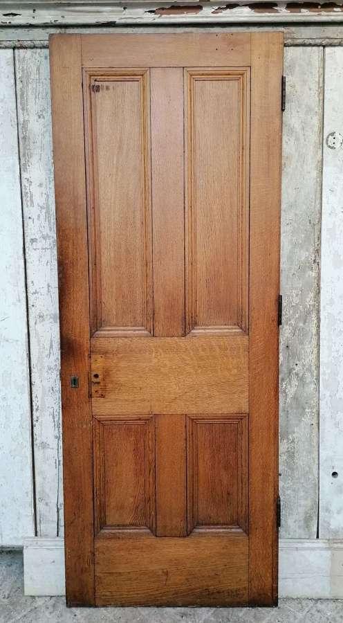 DB0698 A VICTORIAN SOLID OAK 4 PANEL INTERNAL / EXTERNAL DOOR