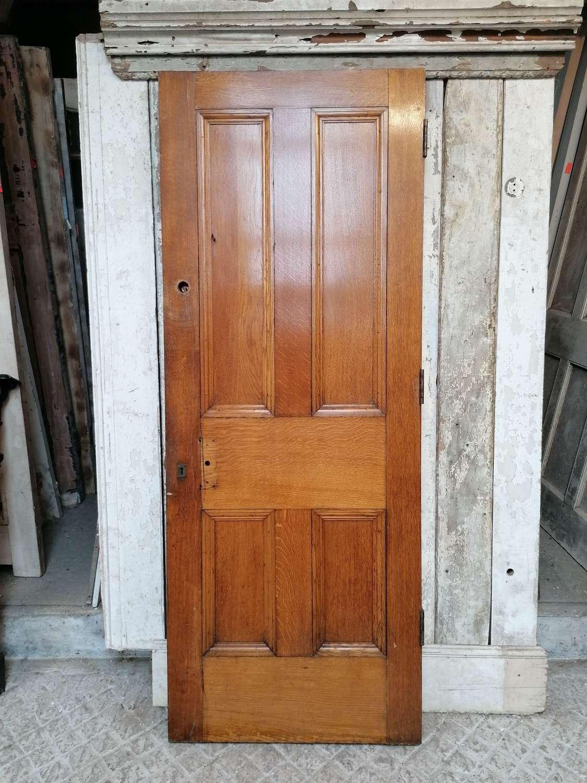 DB0696 A VICTORIAN SOLID OAK 4 PANEL INTERNAL / EXTERNAL DOOR