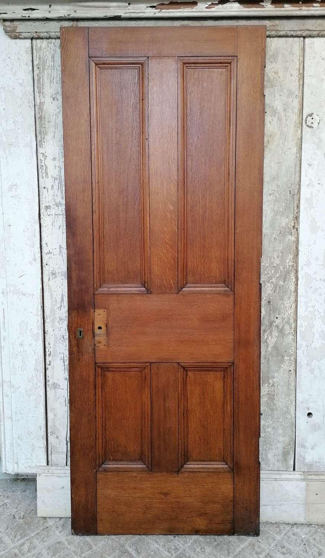 DB0697 A VICTORIAN SOLID OAK 4 PANEL INTERNAL / EXTERNAL DOOR