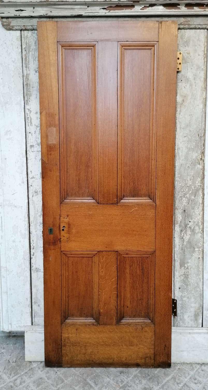 DB0699 A VICTORIAN SOLID OAK 4 PANEL INTERNAL / EXTERNAL DOOR