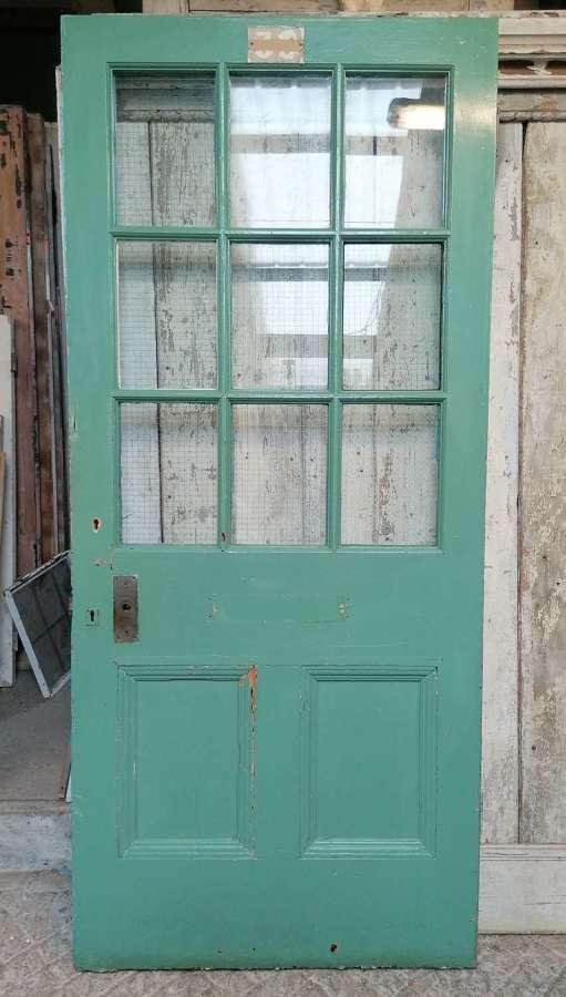DB0702 A RECLAIMED PAINTED PINE INTERNAL / EXTERNAL GLAZED DOOR