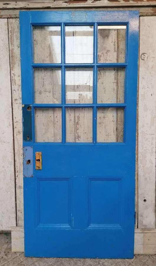 DB0703 A RECLAIMED PAINTED PINE INTERNAL / EXTERNAL GLAZED DOOR