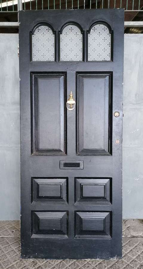 DE0901 A RECLAIMED VICTORIAN PINE PAINTED GLAZED FRONT DOOR