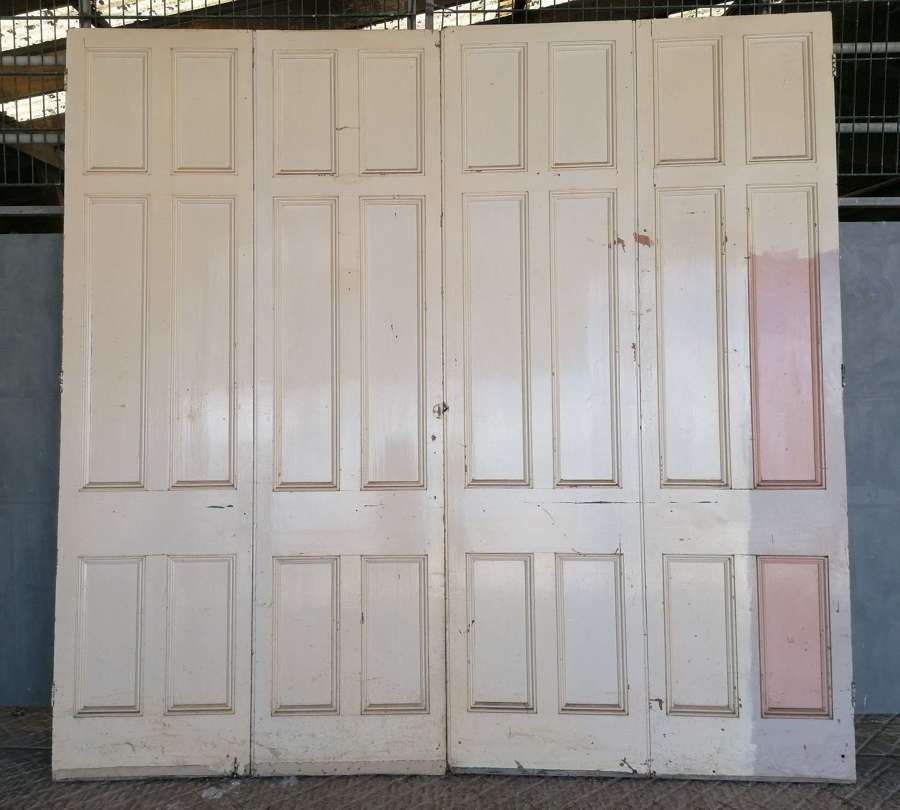 CS0064 A SET OF 4 TALL VICTORIAN PINE BIFOLDS / ROOM DIVIDERS