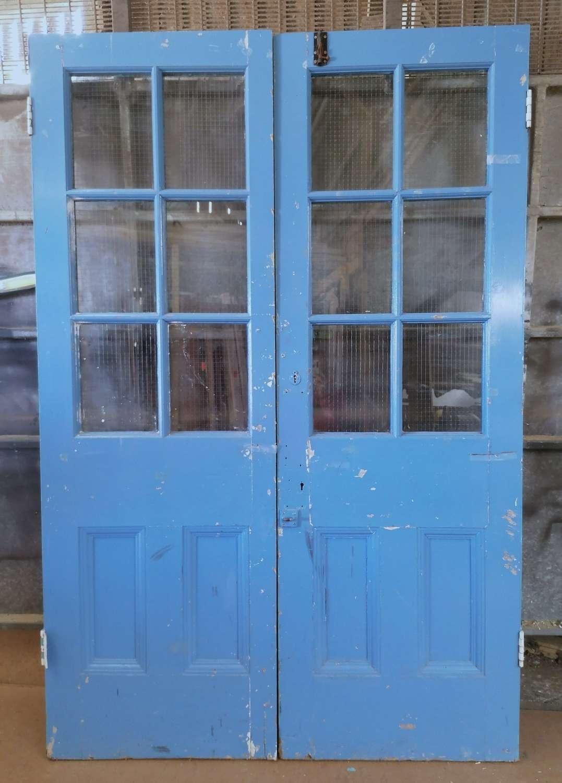 DP0339 PAIR OF RECLAIMED VICTORIAN PAINTED PINE GLAZED DOORS