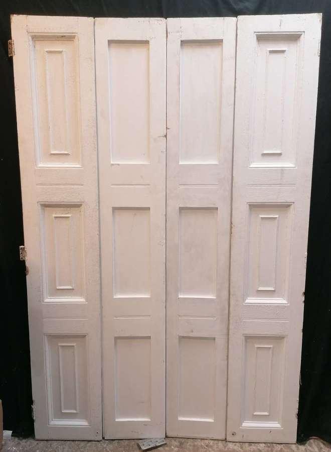 CS0065 PAIR OF RECLAIMED VICTORIAN PAINTED PINE WINDOW SHUTTERS