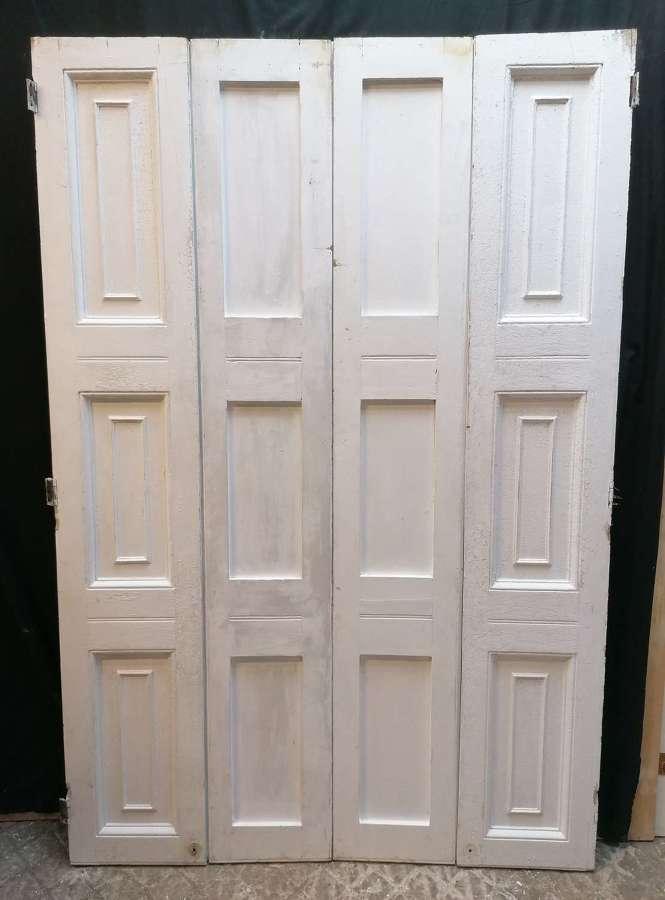 CS0067 PAIR OF RECLAIMED VICTORIAN PAINTED PINE WINDOW SHUTTERS